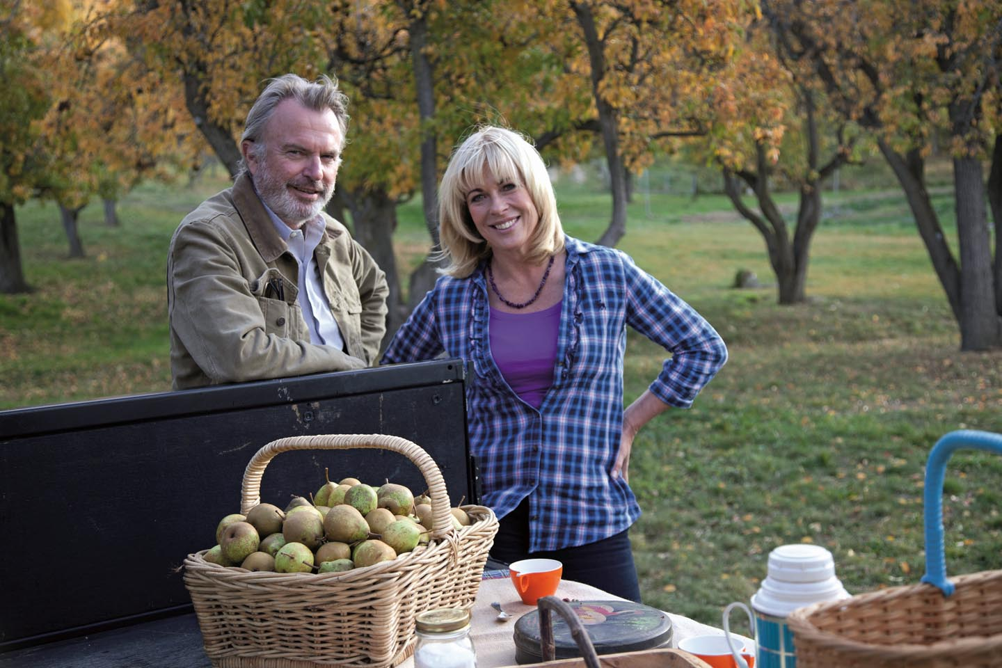 Annabel Langbein visits actor Sam Neill's Two Paddocks vineyard to harvest saffron and pick heritage pears, then invites him and his team to her cabin to try her modern take on classic Italian osso bucco and saffron risotto.