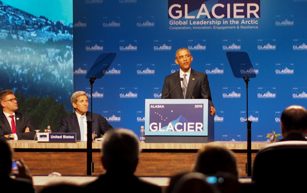 Obama delivers closing remarks at the GLACIER conference, focusing on the ways climate change is already taking a dramatic toll on Alaska. (Photo: Zachariah Hughes)
