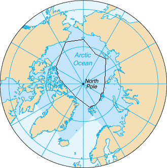 The borders of the Arctic Ocean, according to the CIA The World Factbook[5] (blue area), and as defined by the IHO (black outline - excluding marginal waterbodies). Image: Wikimedia Commons.