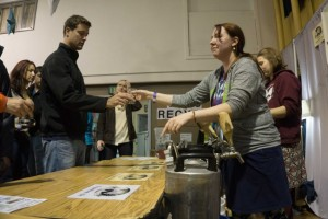 The Haines Brewing Company booth at Capital Brewfest 2015. (Photo by Jeremy Hsieh/KTOO)
