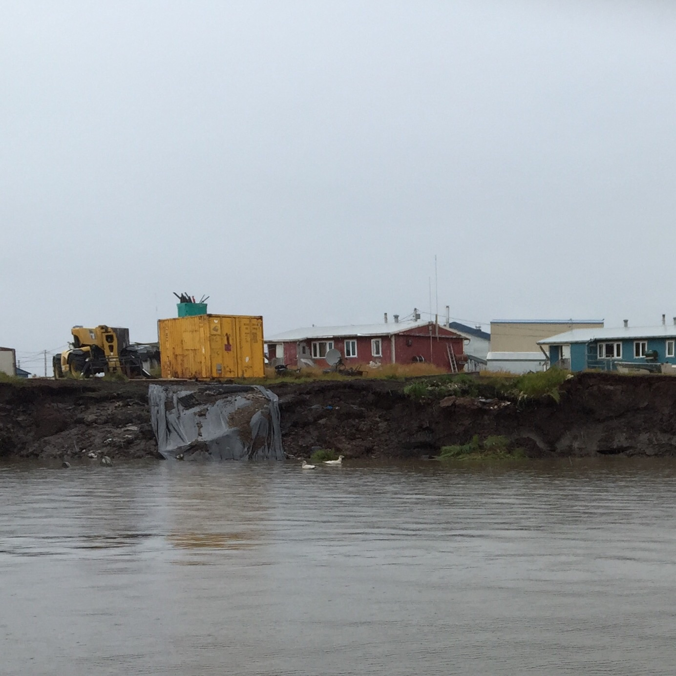 "Locals say the ""Nignlick"" riverbank has been eroding since the 70s. (Photo by Charles Enoch/KYUK)"
