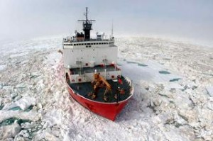 The Coast Guard vessel Healy is considered a medium icebreaker. President Obama has promised to speed up the acquisition of a heavy icebreaker for the Coast Guard's fleet. Photo: USCG.