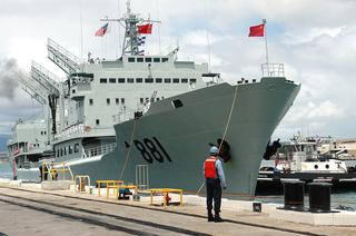 The Chinese Navy's Honzehu destroyer at Pearl Harbor in 2006. US Navy photo.