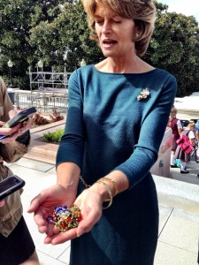 Sen. Lisa Murkowski shows the rosary beads she says prompted a special moment with the pope.