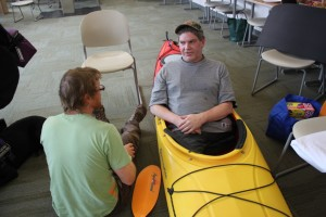 J.C. Terrill says sitting in a kayak is more comfortable than sitting in a chair. (Photo by Lisa Phu/KTOO)