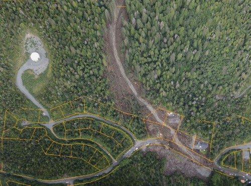 A screen capture of a 3-D image of the Kramer Avenue slide area, from data produced by the state Division of Geophysical Survey. (3-D image Joshua Houston/City & Borough of Sitka)