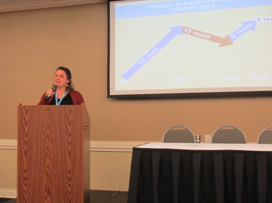 Meilani Schijvens of Rain Coast Data presents the annual Southeast By the Numbers report at Southeast Conference.