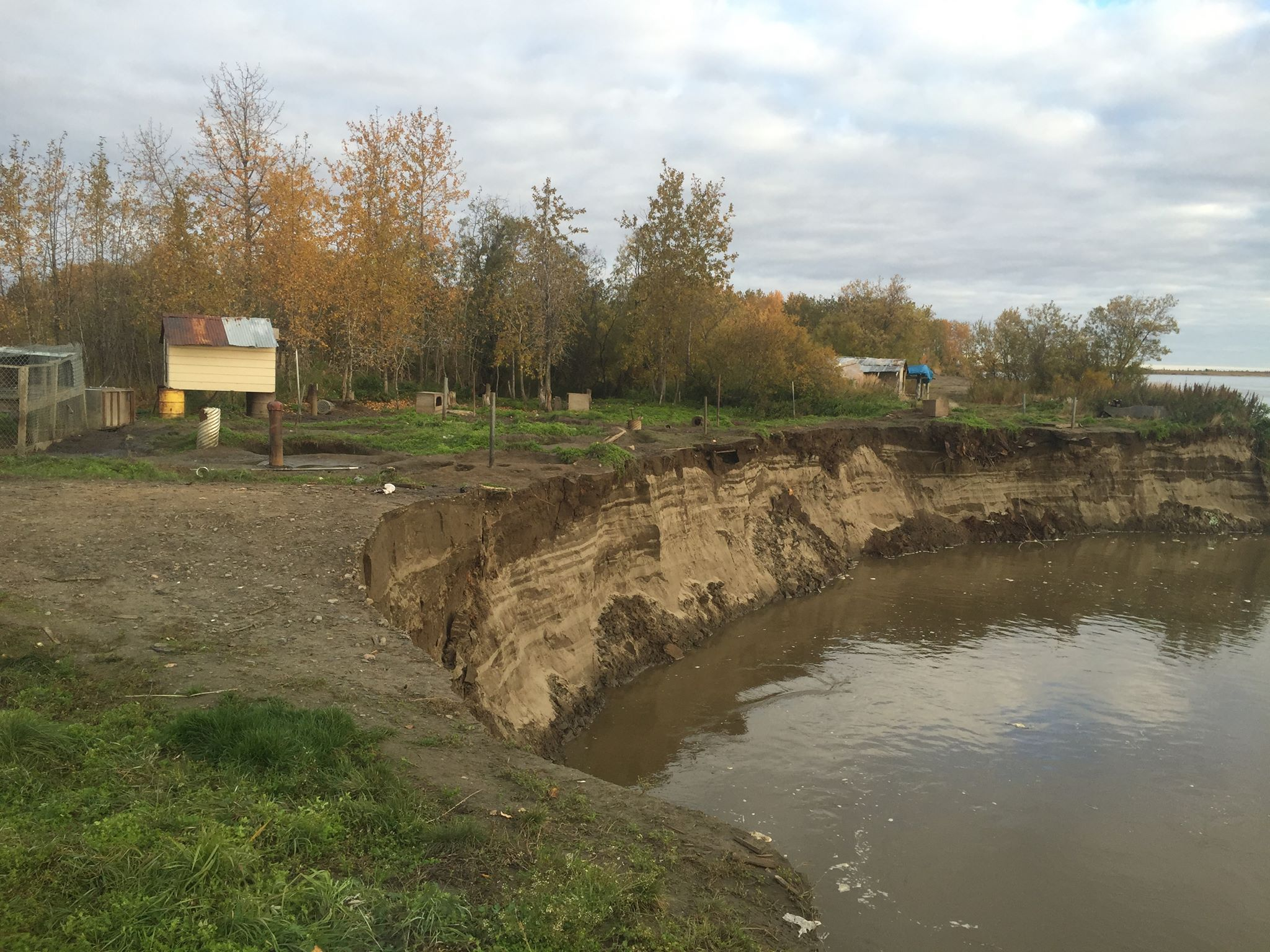 Approximately 50 feet of land that eroded from Mike Williams' backyard. (Photo courtesy of Mike Williams)