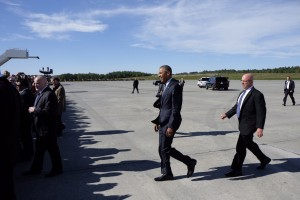 President Barack Obama arrives at JBER at the outset of his 3-day visit.  Marc Lester / Alaska Dispatch News  President Barack Obama arrives at JBER Monday afternoon, Aug. 31, 2015.