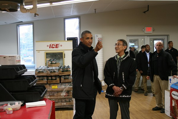 Obama visits the N&N Market. Photo: Clark Fair/KDLG.