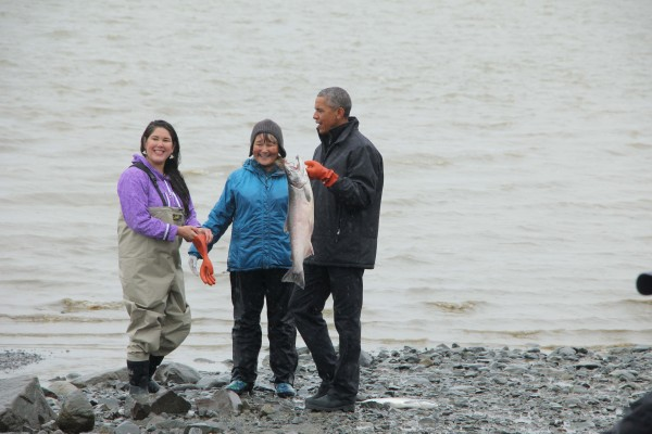 President Obama picked up a silver on the beach in Dillingham. Photo: Hannah Colton/KDLG.