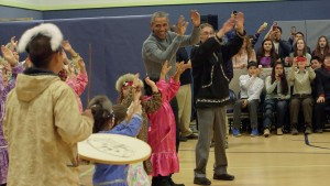 President Obama dances with and greets students at Dillingham Middle School on Wednesday, Sept. 2. Photo: Tara Young