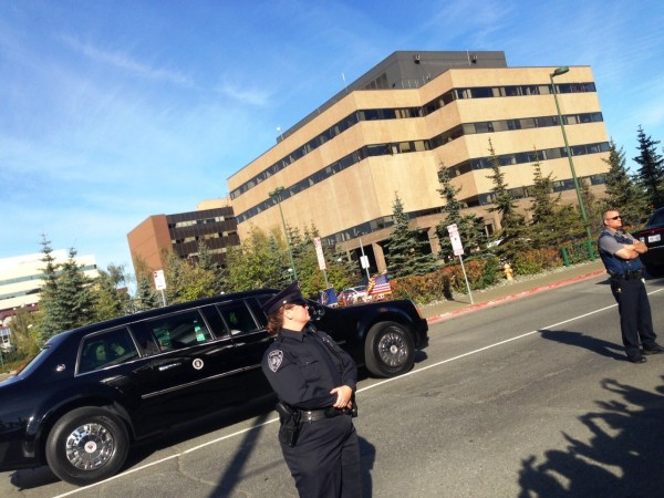 The last glimpse of President Obama in downtown Anchorage. (Photo Courtesy of Katie Pekkonen.)