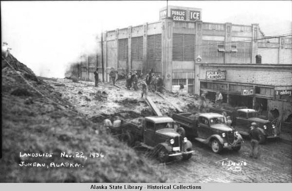 The 1936 Juneau landslide killed 15 people. (Photo courtesy of the Alaska State Library, Historical Collections)