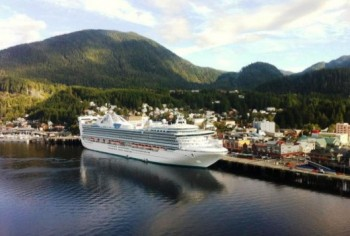 A cruise ship is docked at Ketchikan's downtown Berth 2. Such ships brought about 1 million passengers to Southeast this season. (Photo by Leila Kheiry)