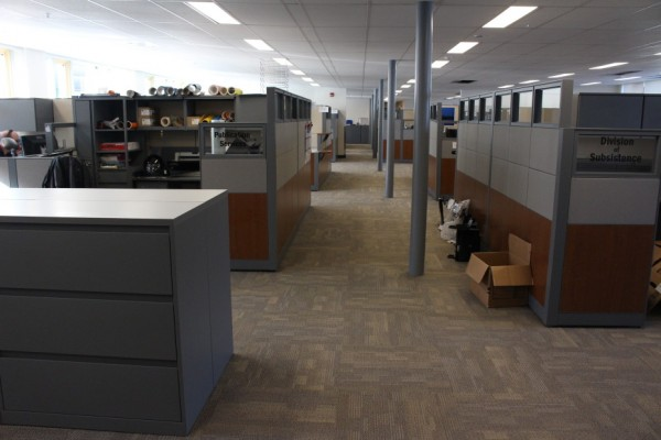 The state's newly renovated offices in Douglas follow the universal space standards. Note the angled ceiling. (Photo by Elizabeth Jenkins/KTOO)