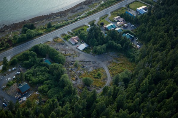 An aerial view of the junkyard site four miles south of downtown Wrangell. (Photo courtesy of dec.alaska.gov)