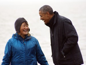 The president shares a smile on Kanakanak Beach in Dillingham. Photo: Clark Fair / KDLG.