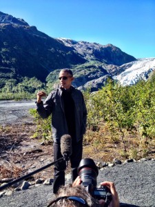 Obama stands in front of Exit Glacier near Seward. Photo: Liz Ruskin/APRN.