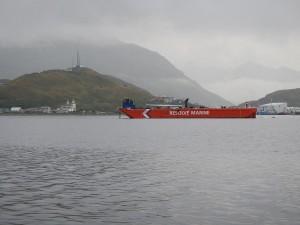 In Dutch Harbor, new orange barge a the beacon of oil-spill preparedness