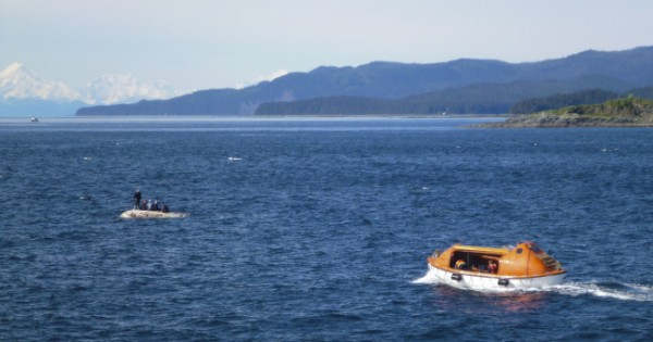 The LeConte state ferry launches a lifeboat to rescue six men from an overturned skiff. (Photo courtesy Janet Neilson)