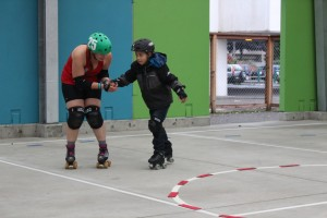Taku RollerSports is loaning the gear for the junior derby league. (Photo by Elizabeth Jenkins/KTOO)