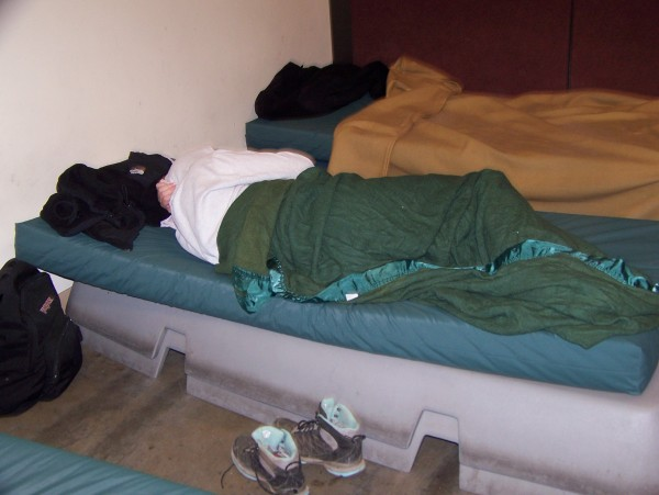 Guests sleep inside the BFS dorm room. (Photo courtesy of Catholic Social Services.)