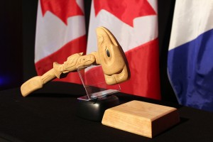 This is the gavel used by the Chairman of Senior Arctic Officials at Arctic Council meetings. This gavel was presented at a dinner to celebrate Canada's second chairmanship of the Arctic Council (2013-2015). Photo: Arctic Council Secretariat / Linnea Nordström