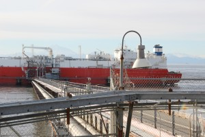 A tanker taking on a shipment at the Kenai LNG plant in October, 2015. (Rachel Waldholz/APRN)