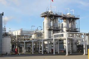 "When gas arrives at the plant, it is first ""dried"" to remove liquids and impurities. (Rachel Waldholz/APRN)"