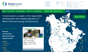 This screenshot shows TransCanada's homepage on Oct. 27, 2015. The company has pipeline projects all over North America.