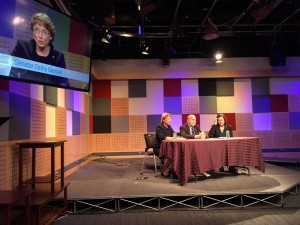 Senators Cathy Giessel (R-Anchorage) and Berta Gardner (D-Anchorage) joined Gov. Bill Walker on APRN's Talk of Alaska, Oct. 27, 2015. (Photo Courtesy of the Senate Majority)