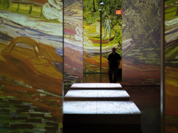 40 projectors splash more than 3,000 images onto walls and floors in several different rooms, changing a viewer's perspective from one space to the next. (Photo: Zachariah Hughes, KSKA)