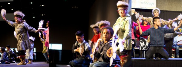 The Acilquq Drummers and Dancers take the stage at AFN. They're an Anchorage-based group dancing in traditional Yup'ik style. Photos: Zachariah Hughes/KSKA.