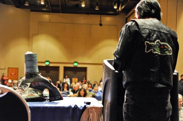 Alan Zuboff presents on clan protocol at the 2013 Conference of Tlingit Tribes & Clans. (Photo courtesy Peter Metcalfe)