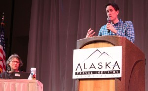 """Explore Fairbanks President and CEO Deb Hickok and Northern Alaska Tour Company's Brett Carlson during a panel discussion """"Tourism in the Arctic."""" (Photo by Lisa Phu/KTOO)"""
