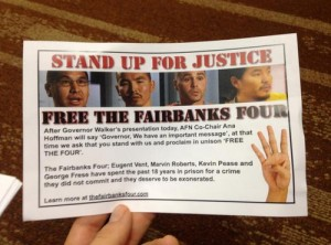 'Fairbanks 4' supporters stage protest during Gov's AFN speech
