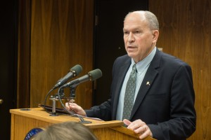 Gov. Bill Walker at a press conference in the Capitol, Oct. 23, 2015. He announced that he was dropping a proposed natural gas reserves tax from the special session agenda. (Photo by Jeremy Hsieh/KTOO)