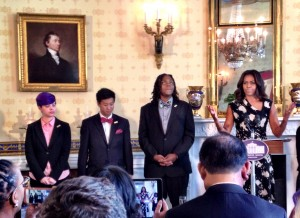 Michelle Obama introduces Lance and fellow National Student Poets. (Photo: Liz Ruskin)