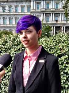 Poet Anna Lance, of Eagle River, speaks to reporters outside the White House. (Photo: Liz Ruskin)