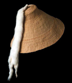 Delores Churchill wove this hat out of spruce root. Photo shared via kfsk.org.