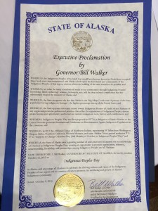 "Alaska Gov. Bill Walker signed a proclamation, declaring the second Monday of October ""Indigenous People's Day."" (Photo by Anne Hillman, KSKA - Anchorage)"