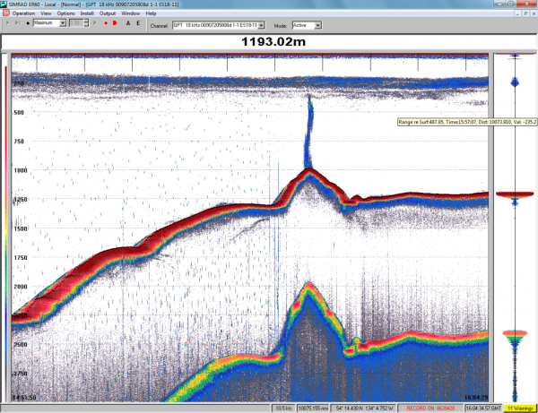 A screen shot from a scientific sounding device shows the newly-discovered volcano and its plume of methane gas. The lower line is an echo, not another volcanic cone. (Image courtesy Canadian Geological Survey)