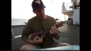 Fisheries observer Keith Davis on board a transshipment vessel in 2012. Video courtesy Hiep Tran.