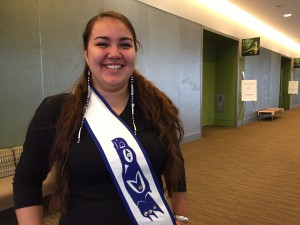 Youth keynote speaker Lacayah Engebretson at the Dena'ina Center in downtown Anchorage. (Hillman/KSKA)
