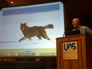 Nick Jans speaks about Romeo the wolf during the University of Alaska Southeast's Evening at Egan lecture series. (Photo courtesy Katie Bausler/UAS)