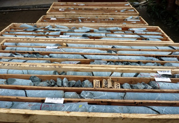 Rock-cores-wait-for-analysis-at-the-Kerr-Sulphurets-Mitchell-project-one-of-the-British-Columbia-mines-planned-for-near-the-Southeast-Alaska-border.-Ed-Schoenfeld-CoastAlaska-News