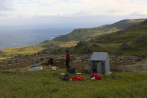 AVO seismologists work to repair a seismic station on Little Sitkin Volcano in the western Aleutians Islands. (USGS photo)
