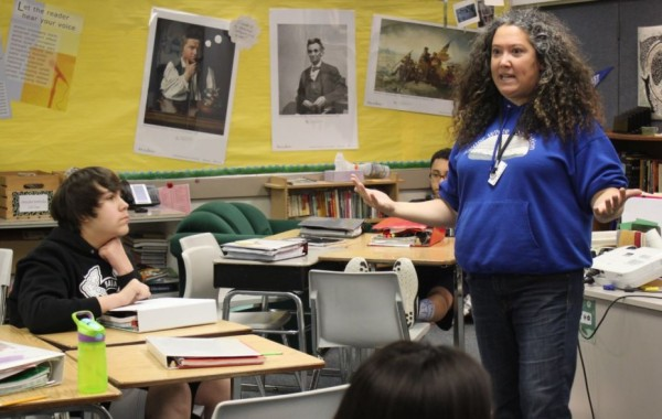 """To get eighth graders to understand Shakespeare's """"Othello,"""" Perseverance Theatre's Shona Osterhout has them act it out. (Photo by Lisa Phu/KTOO)"""