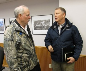 Sen. Bert Stedman, R-Sitka, and Alaska DOT Commissioner Marc Luiken talk at Ketchikan City Hall. (Photo by Leila Kheiry)